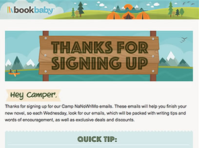 BookBaby camp email campaign